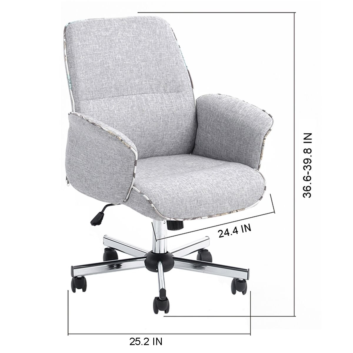 Amazon.com: HOMY CASA Homycasa Leisure Grey Fabric Home Office Chair Height  Adjustable Chair: Kitchen & Dining