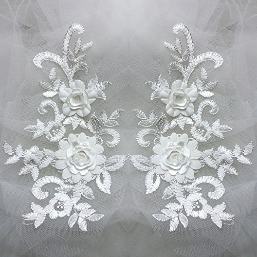 USJee 1 Pair 3D Embroidery Off White Lace Flower Applique Patch Sewing Craft Decoration ()