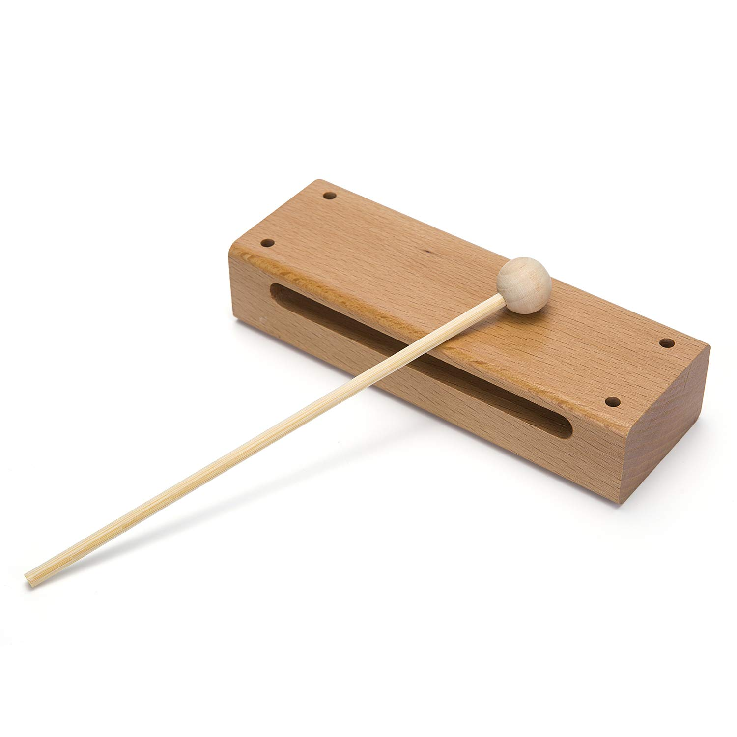 Wood Block Musical Instrument with Mallet Solid Hardwood Percussion Rhythm Blocks by Mihey