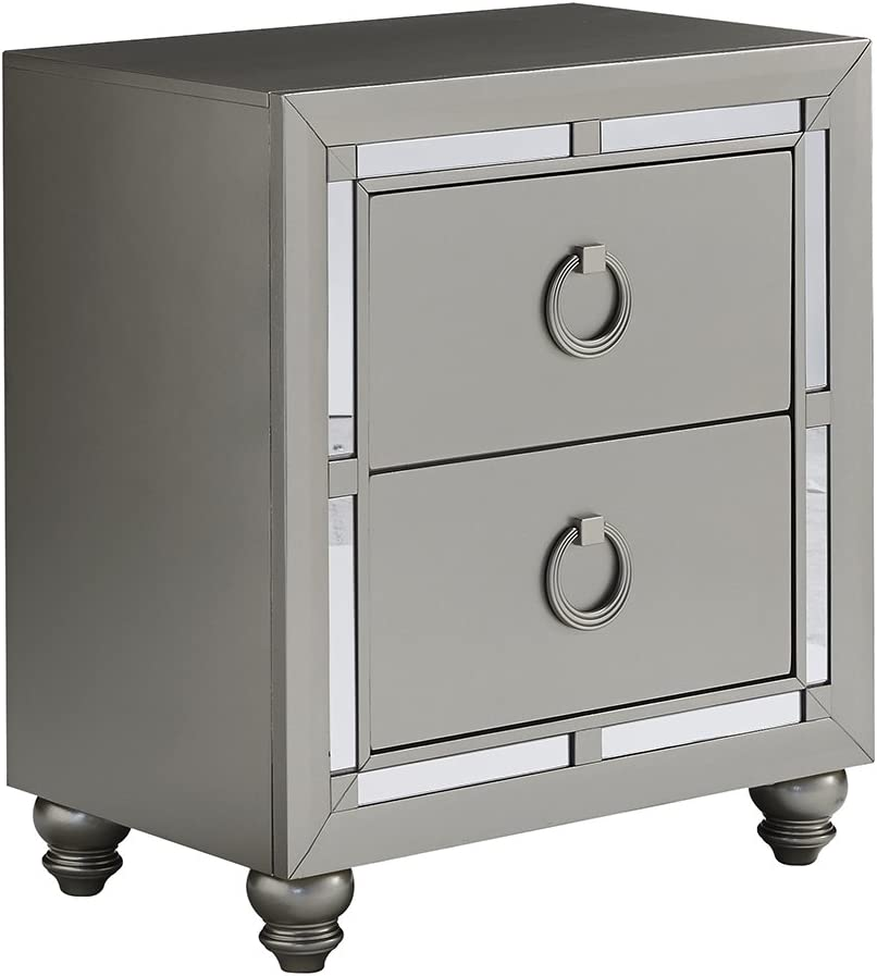 Global Furniture USA 1621 Night Stand Riley Nightstand, Silver