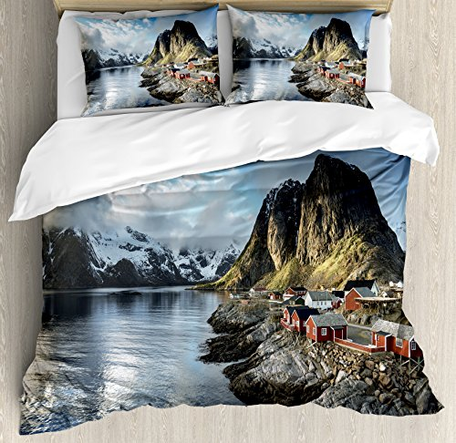 Fishing Hut - Island Duvet Cover Set King Size by Ambesonne, Fishing Hut Photo in Autumn with Rocks and Clouds Scenery Northern Norway Cold, Decorative 3 Piece Bedding Set with 2 Pillow Shams, Blue Grey White