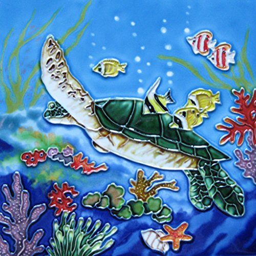 - Continental Art Center BD-2311 Swimming Sea Turtle Decorative Art Tile, 8