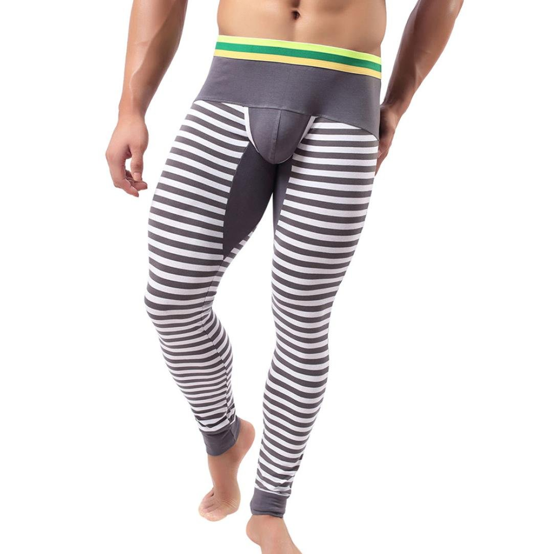 Mens Underwear, Wintialy Striped Breathe Patchwork Low Rise Leggings Long Johns Thermal Pant