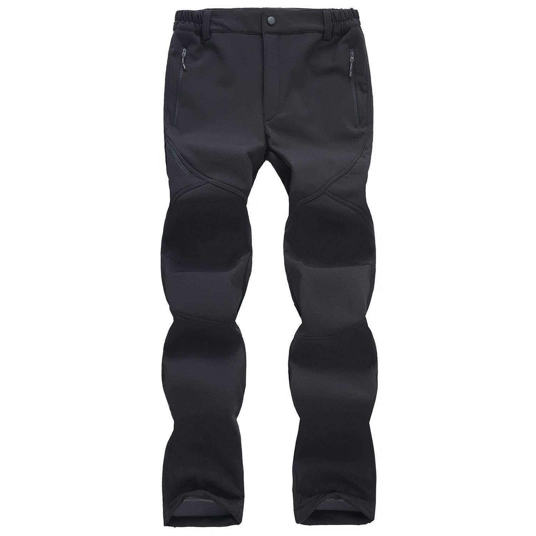 WOG2008 Men's Fleece Windproof Softshell Hiking Trousers Snow Ski Pants Zipper
