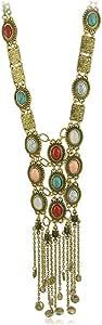 SUNSCSC Vintage Retro Rhinestone Turquoise Long Boho Bohemian Statement Necklace for Women