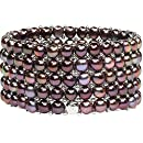Women's Pearl Bracelet - Easy-on Stretch Five Strand with Stainless Steel spacer beads