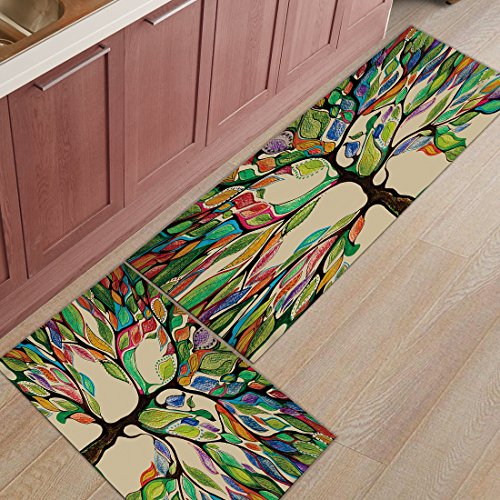 Z&L Home 2 Pieces Kitchen Rugs and Mats Non Slip Rubber Backing Floor Carpet Accent Area Runner Thin Low Pile Indoor Doormat Set-Colorful Life Tree