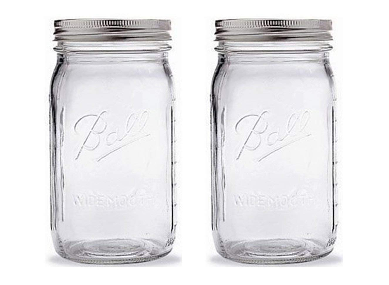 Ball Mason Jar-32 oz. Clear Glass Ball Wide Mouth-Set of 2 by Ball (Image #1)