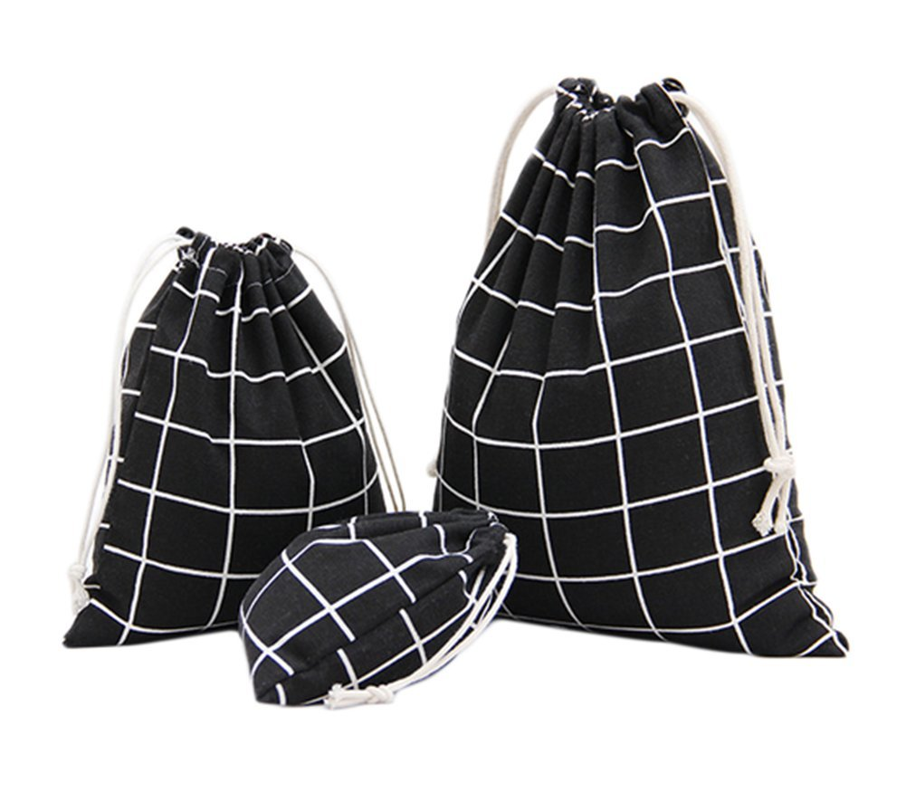 Yonger Simple Style Grid Pattern Drawstring Backpack Sack Bag Solid Color Gift Sacks Storage Pouch Cloth Drawstring Bag Drawstring Travel Bag Linen Bags Black 3pcs