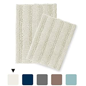 Turquoize Bath mat Runners for Bathroom Rugs Extra Soft, Absorbent, Thickening Shaggy Microfiber, Machine-Washable, Perfect for Doormats,Tub, Size 20 by 32 Inch & 17 by 24 Inch, Ivory