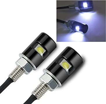 2pcs White 2-LED Motorcycle Car License Plate Screw Bolt Light Lamp With Wire