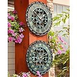 Cheap 14″ Copper Verdigris Outdoor Clock & Thermometer