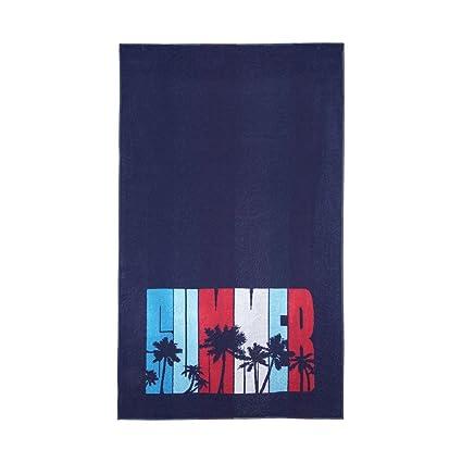 """Toalla Playa """"Palmeras"""" Terciopelo Azul Marino, 100X170 cm - Toallas de playa"""