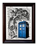 Dictionary Art Print - Tardis, Alice, and Cheshire Cat - Printed on Recycled Vintage Dictionary Paper - 8.5