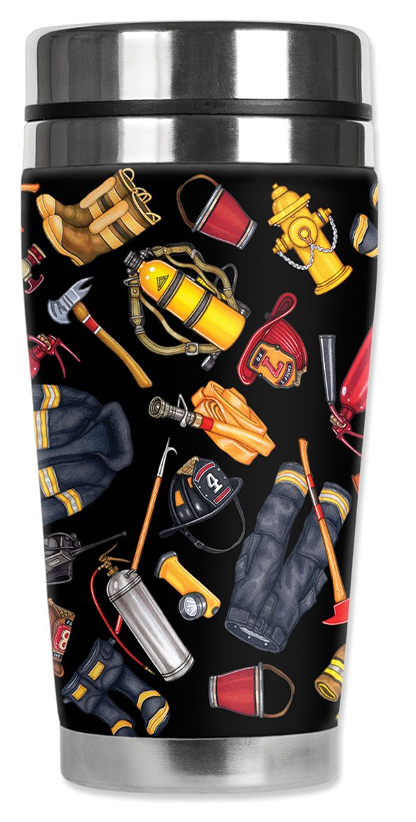 Mugzie 1253-MAXFire Department Stainless Steel Travel Mug with Insulated Wetsuit Cover Black 20 oz