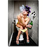 Poster Pin Up --- Freaky Girl --- Sexy Pinup Erotik Akt Rockabilly Toilette Bar Club Kneipe