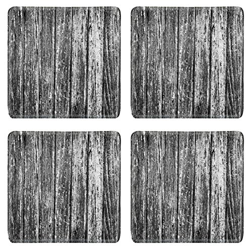 Liili Square Coasters Black and white texture of old wooden door Photo 1685022