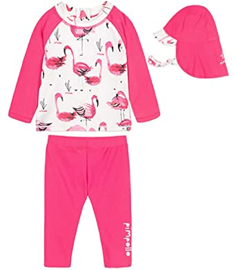 1d2898f1789f5 Baby Kids Little Girls Two Pieces Flamingo Long Sleeve Full Body Rash Guard  UPF 50+ UV Swimsuits Set with UV Sun Hats: Amazon.co.uk: Clothing