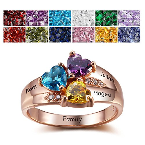 Sterling Silver Mothers Rings with Birthstones, Choose 3 Birthstones 3 Names and 1 Engraving Customized and (3 Stone Mom Ring)
