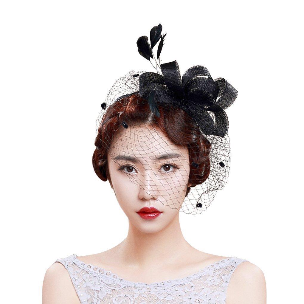 Tocado de malla para el pelo, diseño de plumas y moños, ideal para bodas y fiestas YJZQ