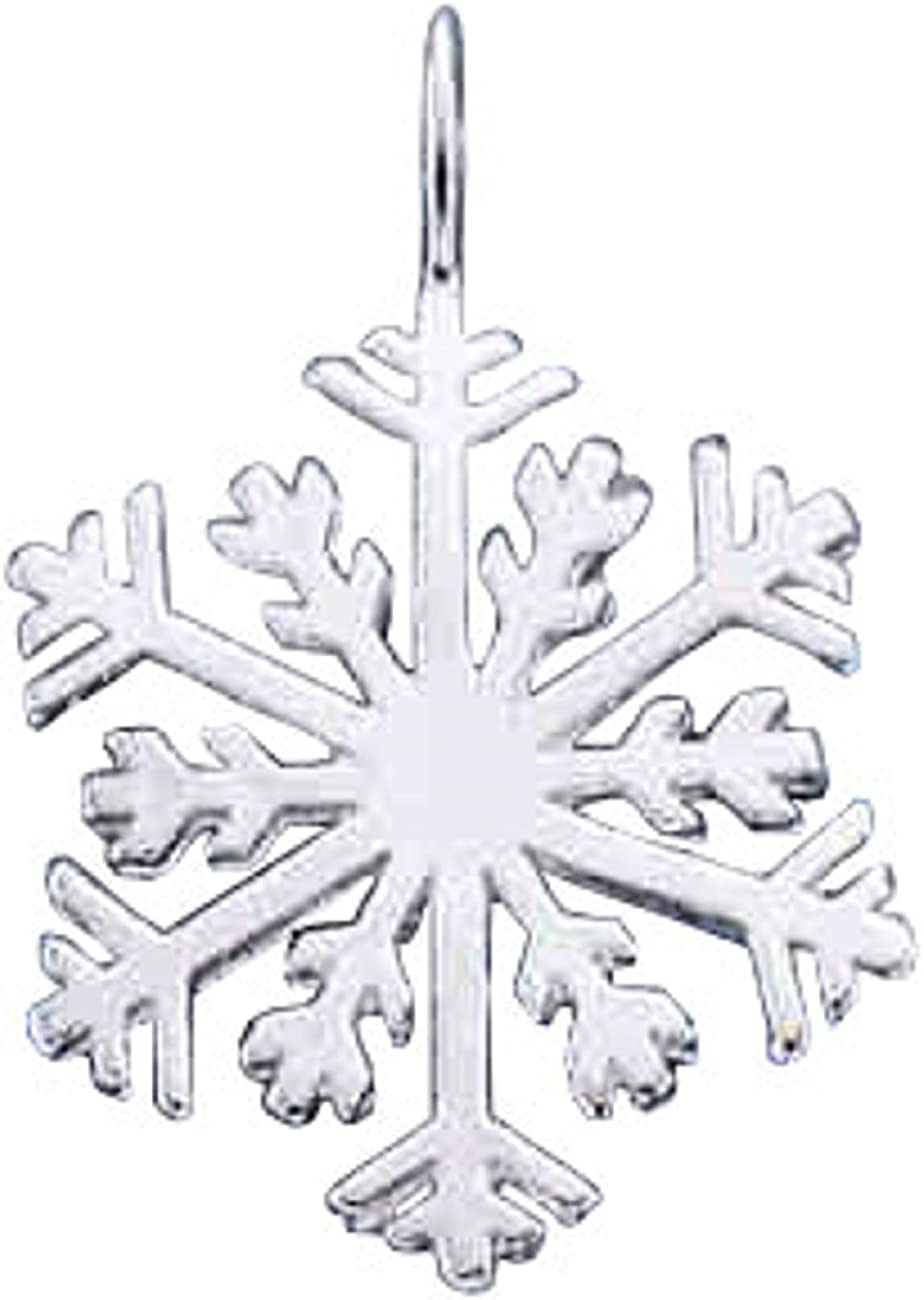 Sterling Silver Girls .8mm Box Chain Snowflake Pendant Necklace