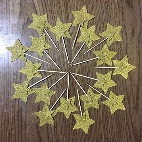 DooXoo Double Sided Star Topper Gold Glitter Star Wand Cake Topper Cupcake Topper Wedding Cupcake Toppers Set of 18