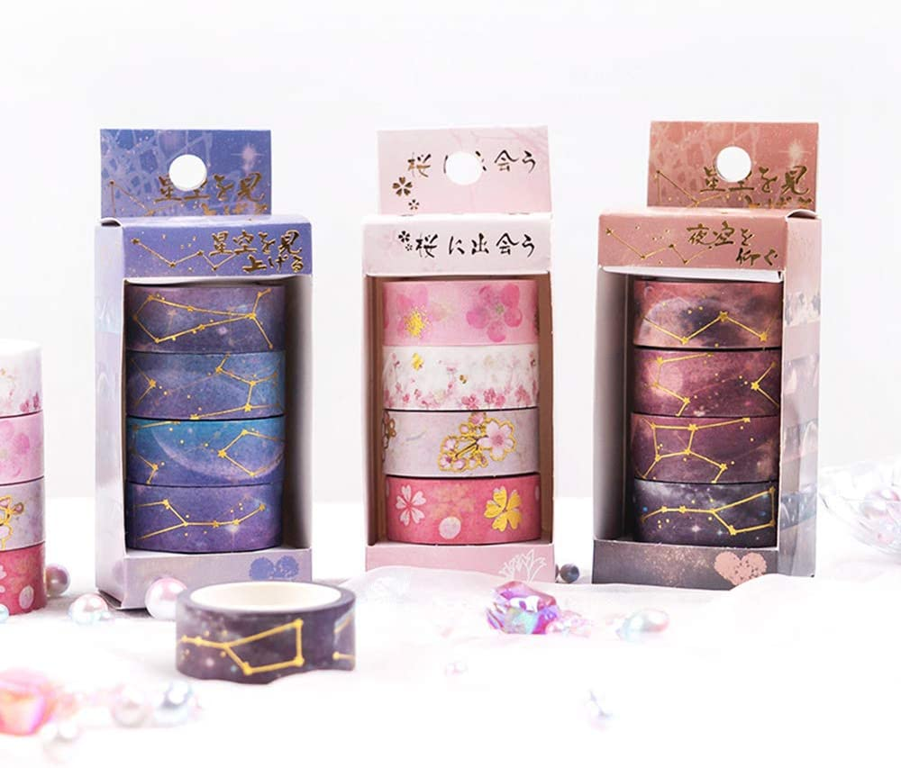 Gift Wrapping 4 Rolls//Set 5M Lezed Starry Washi Tapes Scrapbooking Craft Masking Tape Galaxy Starry Sky Design Decorative Tape Scrapbook Supplies for DIY Decorative Craft Brown