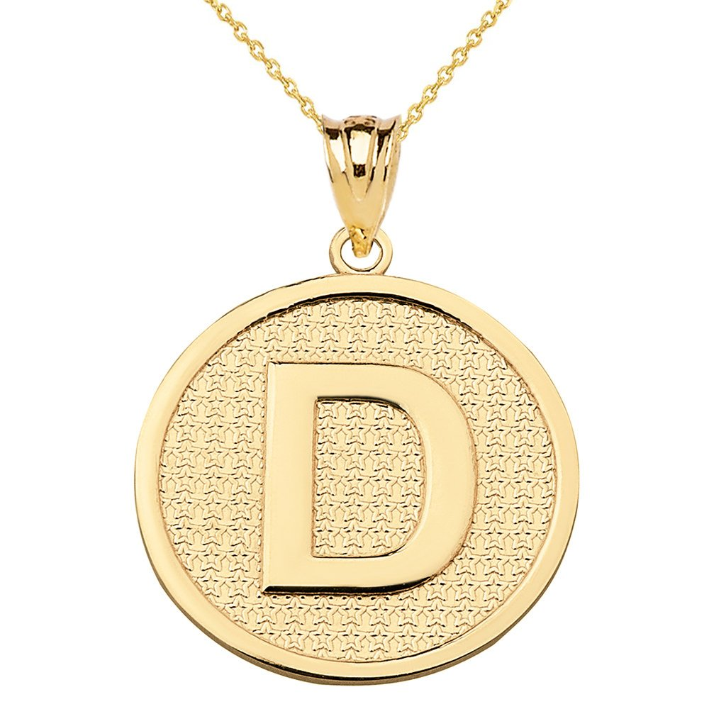 Solid 14k Yellow Gold Initial Letter D Pendant Necklace, 16''