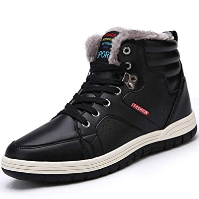 Oumanke Men Winter Snow Boots Waterproof Outdoor Fashion Sneakers Leather  Ankle,high Shoes (Black,Blue)