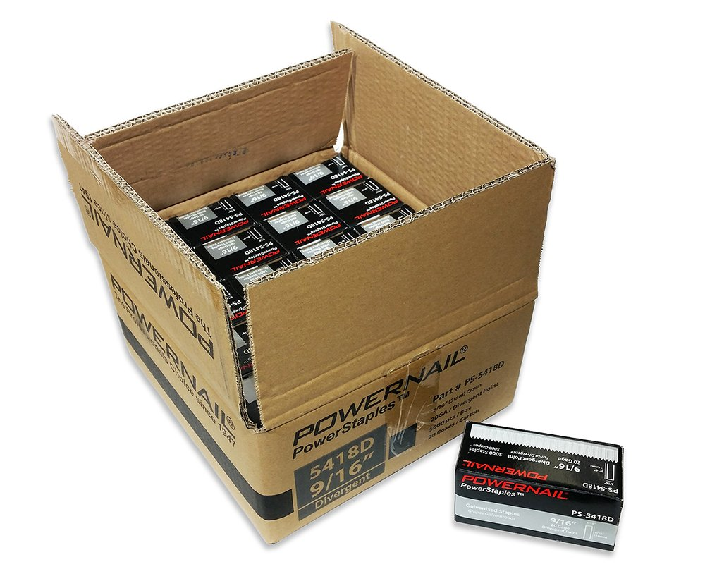 Powernail 20ga Divergent Point Staple. 3/16''crown x 9/16''long. Case of 20 boxes (5000 per box) by Powernail (Image #1)