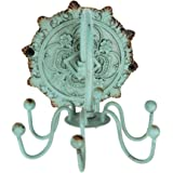 Antique Jewellery Wall Display Hanger Jewelry Holder Rack Metal Hooks for Necklace Bracelets Organizer Vintage Decorative Gift Distressed Blue