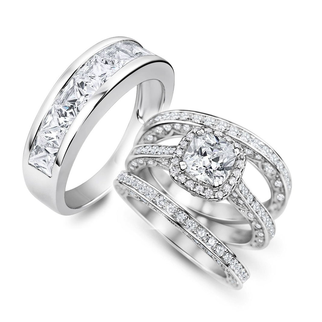 Sunee Jewelry And Gift His & Hers 4pc 925 Sterling Silver Halo Cushion Cut Cz Bridal Wedding Engagement Ring Set (her 8 his 13)