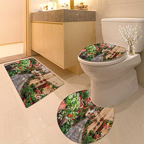 3 Piece Bathroom Rug SetTuscan Collection Tuscan Build with Cobblestone ated s Plants Picture Fabric with Hoo Extra Soft Memory Foam Combo - Rug, Contour Mat and Lid Cover Collection Cobblestone Three Light Fixture