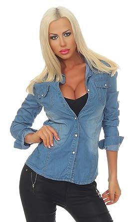 VERO MODA Damen Jeans Bluse Jeanshemd Damenbluse Hemd