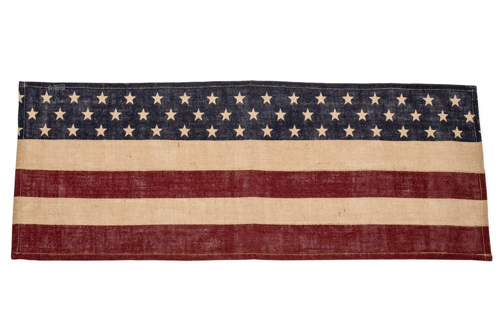 Vintage American Flag Blue Stars Red Stripes 13 X 16 Burlap Table Runner