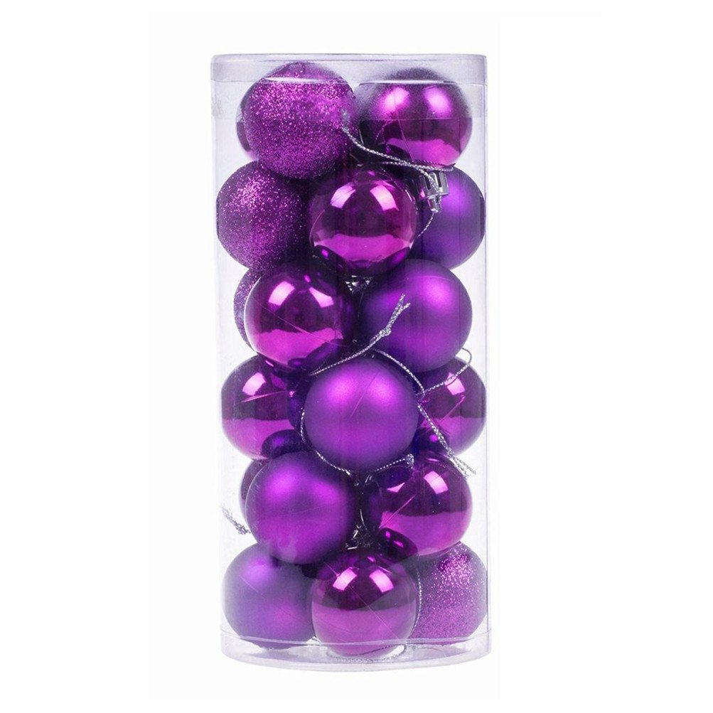IVYRISE 24 PCS Festival Party Wedding Christmas Tree Hook Pendent Shatterproof Ornament Balls Decorative Hanging Balls, 1.57 INCH / 4 CM, Purple Balls