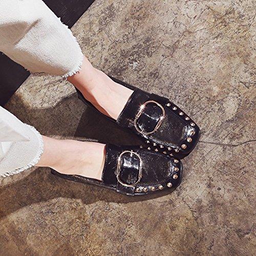 Easemax Womens Retro Rivets Buckles Square Toe Low Top Mid Chunky Heel Pumps Slip On Pumps Shoes Black hF56EgkJM