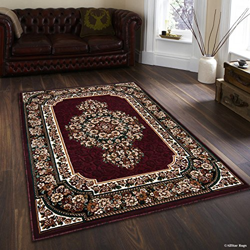 Cheap  Allstar 8 X 10 Burgundy with Green Woven Floral Printed Area Rug..