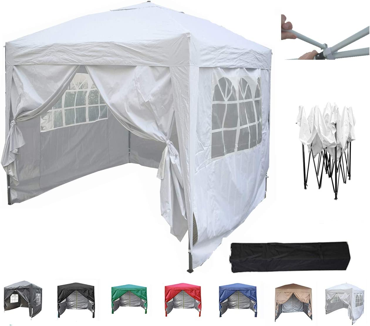 MMC - Carpa de 2 x 2 m, pérgola plegable, carpa para jardín, tienda para fiestas y celebraciones, juego completo, blanco