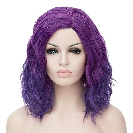 ATAYOU® Short Curly Ombre Sintético Cosplay Bob Pelucas Para Mujer Disfraz con 1 Gorra de Peluca Gratis (Púrpura a Azul Ombre)
