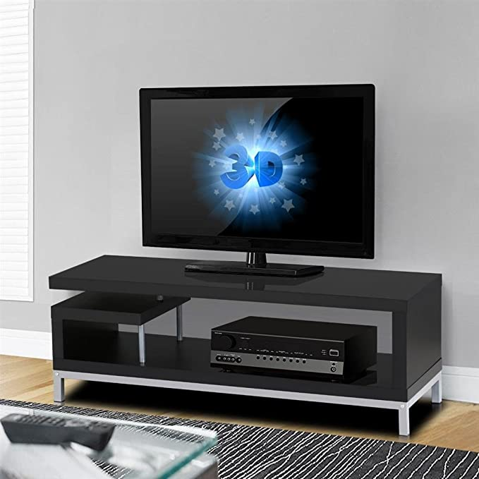 Yaheetech Black Wood TV Stand Console Table Home Entertainment Center Media Cabinets with Steel Leg for Flat Screens