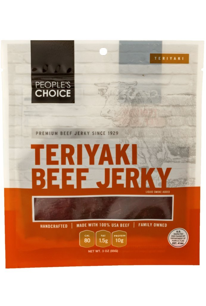 People's Choice Beef Jerky - Classic - Teriyaki - High Protein Meat Snack - 3 Ounce Bag