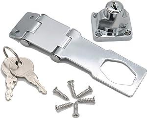 dingchi Keyed Hasp Lock – Twist Knob Keyed Locking Hasp for Small Doors, Cabinets (lock6)