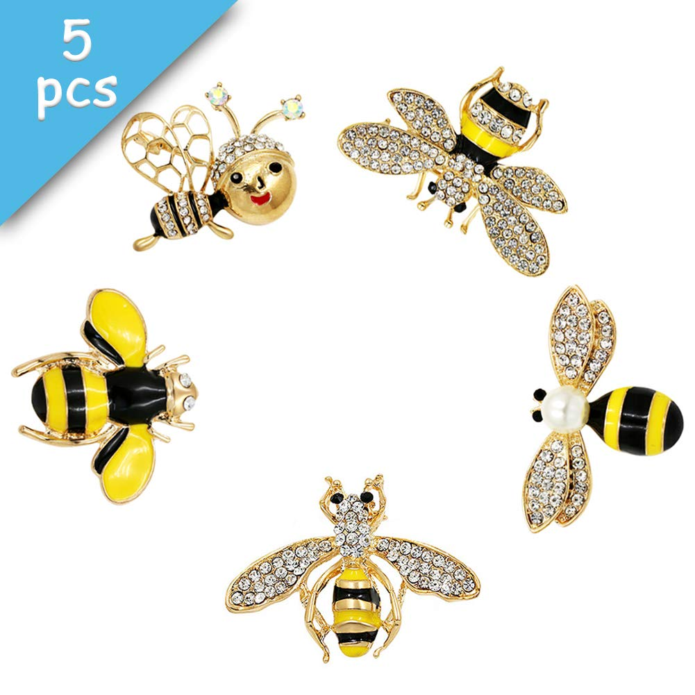Apol Set of 5 Fashion Enamel Crystal Rhinestones Bee Themed Brooch Pin Clothes Dress Scarf Decoration