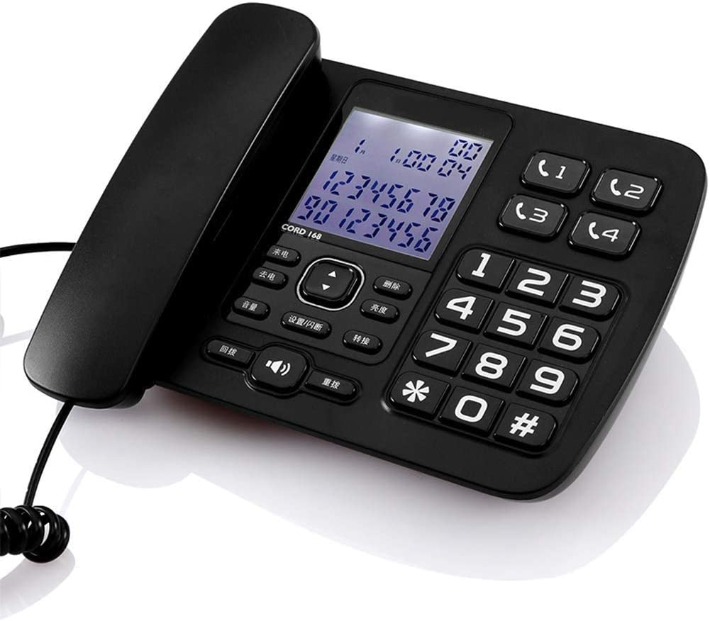 DEERYEO Landline Telephone, Old Telephone, Caller, Home Office, Large Word, Big Screen (Color : Black)