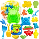Image of Beach Toys Set for Kids - 20 Pieces Sand Beach Toy in Zippered Bag with Castle Bucket, Shovel, Rake, Car, Crab, Fish, Alligator, Dinosaur for Boys, Girls & Toddlers