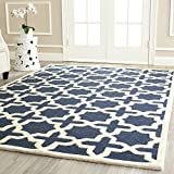 Safavieh Cambridge Collection CAM125G Handmade Navy Blue and Ivory Wool Area Rug, 6 feet by 9 feet (6' x 9')