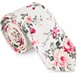 HXCMAN 6cm Weiß beige rose Blume Geblümt schmale Krawatte Klassisches Design Herren Baumwolle Party beiläufig Geschäft Bankett Hochzeit Bräutigam Geschenkbox