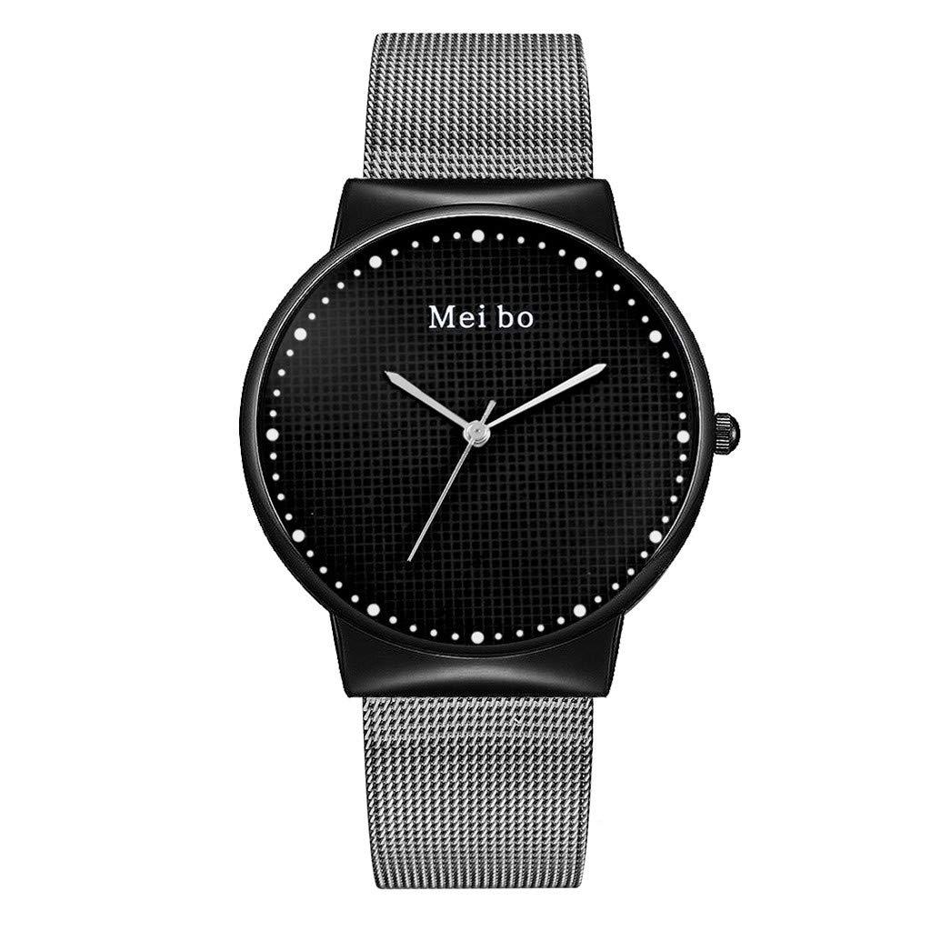 Men's Watch,iMakcc Women Fashion Wristwatch Stainless Steel Watches Girls Ladies Valentine's Day Gift (Black)