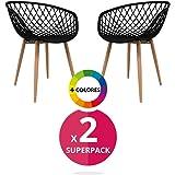 Lot de 2 chaises de salle à manger, style nordiqueLot de 2 chaises de salle à manger, modèle Saga, couleur au choix Noir